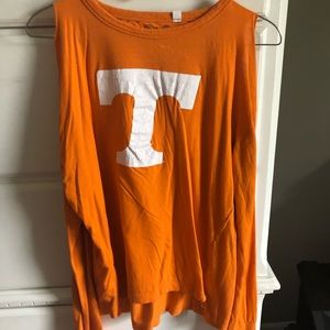 Tops - a tennessee volunteer shirt with cold shoulders